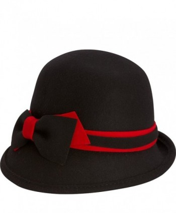 Adora Women's Wool Felt Cloche Bucket Winter Hat with Bow Trim - A. Black/Red - CO124XVC0D3