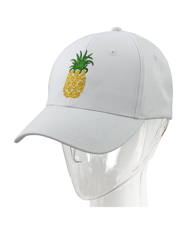 2ca7db83f3780 melitop005 Pineapple Dad Hat Baseball Cap Sun Cap Cotten Snapback  Adjustable Outdoor Sports Cap - White
