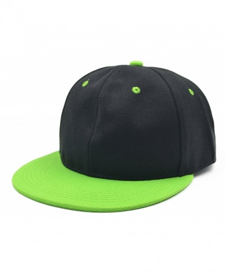 Melesh Adjustable Snapback Baseball Hat - Black/Green - CT182SXRXT0