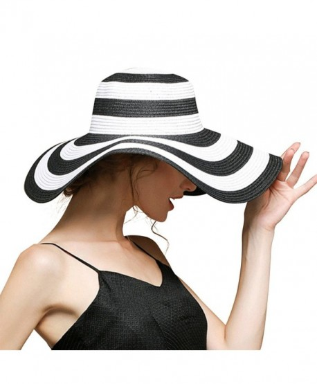 b779b53d2e9 Beach Hats For Women Floppy Sun Stripes Woven Elegant Hats UPF 50+ White  Black - Black ...