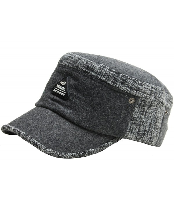 a0a68a825ee A121 Hot Fashion Winter Style Wool Warm Basic Design Army Cap Cadet  Military Hat - Gray - C112BZ0G64J
