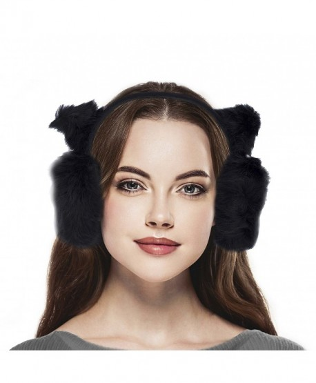 Lux Accessories Black Trendy Winter Cold Weather Fuzzy Furry Cat Ear Muffs - CA184QIEOD7