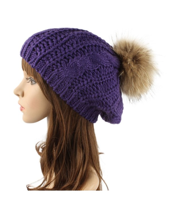 Women Winter Slouchy Beanies knit with Raccoon Fur Pompoms Beanie Hat - Purple - CG1864G57IS