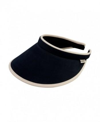Women's Brushed Cotton Clip-On Visor - Black/Khaki - C012CX9SDA5