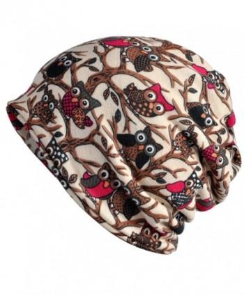 Kuyou Women's Multifunction Hat owl Skull Cap scarf (Beige) - CL1889EC2A7