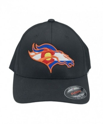 UNAMEIT Colorado Flag Bronco Hat 6277 Fitted Curved Bill Flexfit Hat - Black - CB12DXVG0CV
