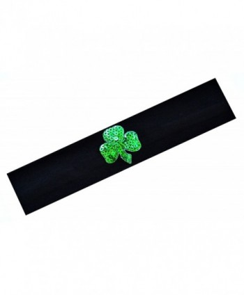 St Patrick's Day Irish Pride Shamrock Cotton Stretch Headband Funny Girl Designs - Black - CD11NXCGNMN