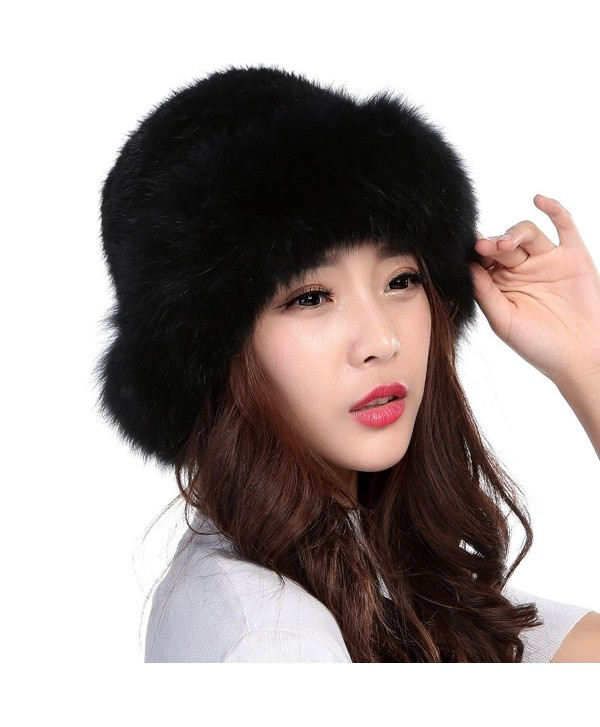 1e1cd0ba Valpeak Womens Winter Hat Knitted Mink With Fox Brim Real Fur Hats (Black) -