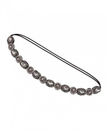 Alilang Womens Grey Elastic Flapper Rhinestone Metallic Beaded Hair Piece Headband - CF12N1IGD14