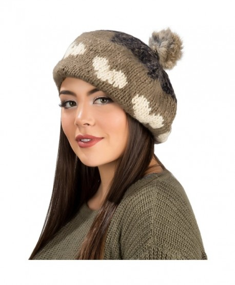 Aerusi Women Ladies French Classic Beret Chunky Knit Knitted Braided Beanie Cap - Brown - CU12BPPYUCT