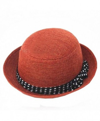 Womens Fedora Hats Bowknot Summer Straw Hat Roll Brim Bowler Derby Hat (Rust red) - C211O9N3JKJ