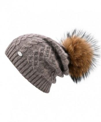 SOMALER Womens Winter Beanie Hats For Women Knit Beanie With Real Fur Pom Pom Ski Caps - Camel With Camel Pom Pom - CI1870QML6W