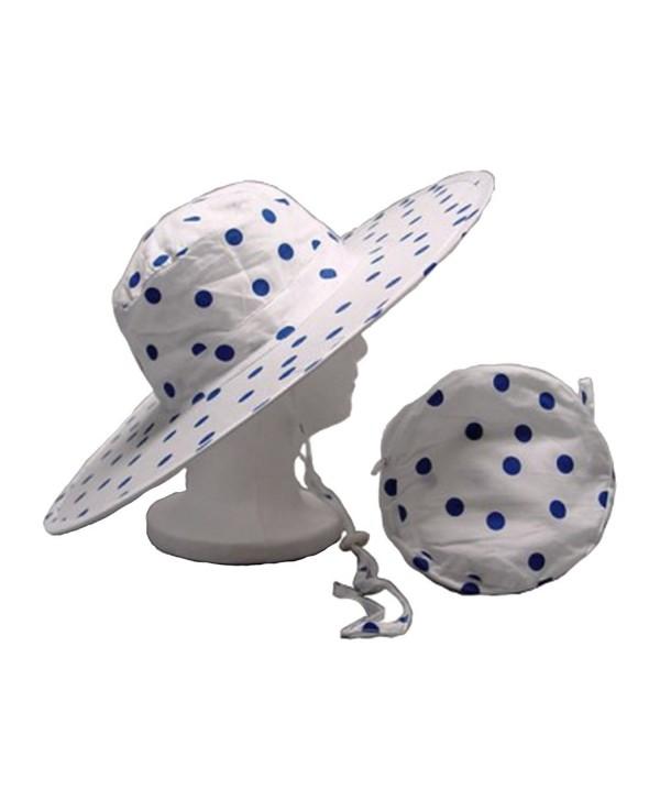 Twist-and-Fold Hat Women's Foldable Cotton Sun Hat- 18 in diameter brim - Blue Polka Dot - CY12LLWXMK7