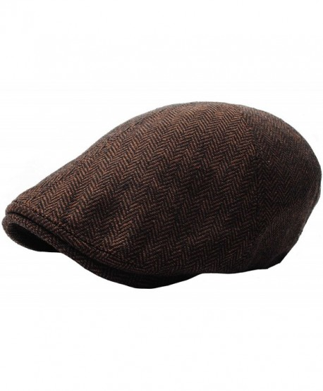 RaOn N04 Herringbone Soft Pattern Driving Wool IVY Cap Cabbie Ascot newsboy  Beret Hat - Darkbrown 55df156d22d
