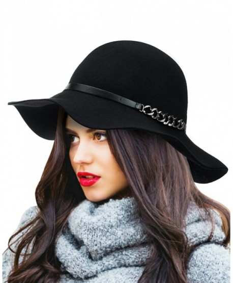 NYFASHION101 Exclusive Women's Chain Link Band Wool Flop Brim Fedora Hat - Black - CS1274IMWDP