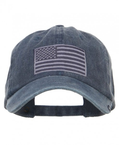USA Flag Embroidered Washed Dyed Cap - Navy - CK12O9200T4