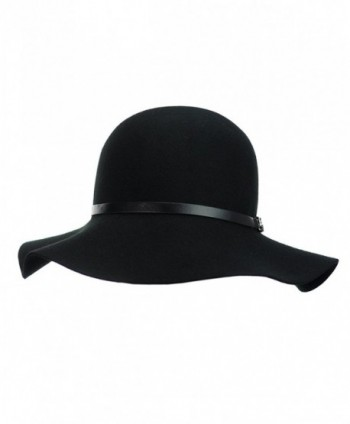 bb4d40476f5 Exclusive Women s Chain Link Band Wool Flop Brim Fedora Hat - Black ...