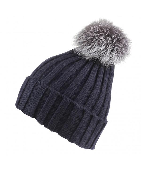 Connectyle Womens Girls Winter Knit Fur Hat Large Fox Fur Pom Pom Beanie Hat - Navy Blue - CH12N34653H