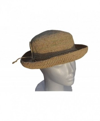 Womens Crocheted Raffia Round Hat with Natural Straw Color. Packable and Foldable by Goal 2020 - C8119WXL057