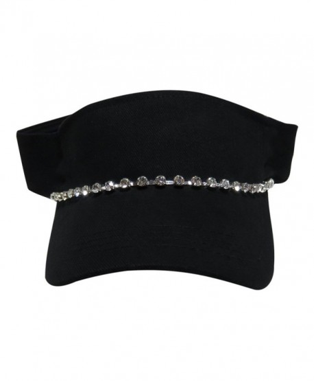 Black Sun Visor with Single Row Rhinestone Hat Cap - C011UK5DPZJ