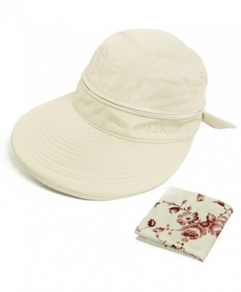 kilofly UV Protection Wide Brim Summer Lightweight 2in1 Visor Sun Hat - Beige - CJ11YYZXB87