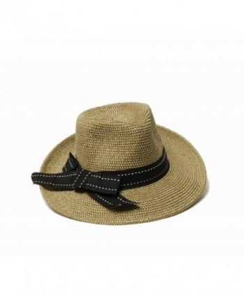 Physician Endorsed Women's Rich Pitch Fedora Packable Sun Hat with Ribbon Rated Upf 50+ - Black Tweed - CM11LCDI6NJ