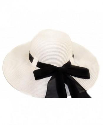 White Wide Brim Ladies Hat With Black Bow / Belt Loop Design - CH113ZCSS5L