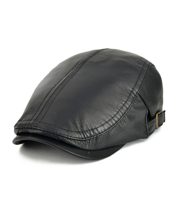 VOBOOM Men Women Adjustable Genuine Leather Ivy Cap Newsboy hat 121 - Black - C317YY2ORYO