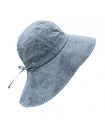 Foldable Sunhat Wide Brim Summer Flap Cover Cap with Neck Cover Cord for Women - Denim Blue - CX17YUSRON7