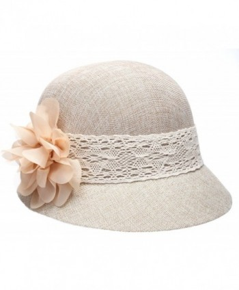 Epoch Women's Gatsby Linen Cloche Hat With Lace Band and Flower - Natural - C212ER399E5