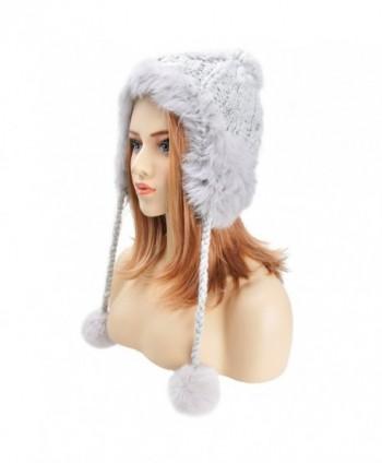 ZLYC Women Fashion Winter Warm Rabbit Fur Knit Bobble Beanie Cap Hat with Earflaps - Grey - CV1887Q5UHR