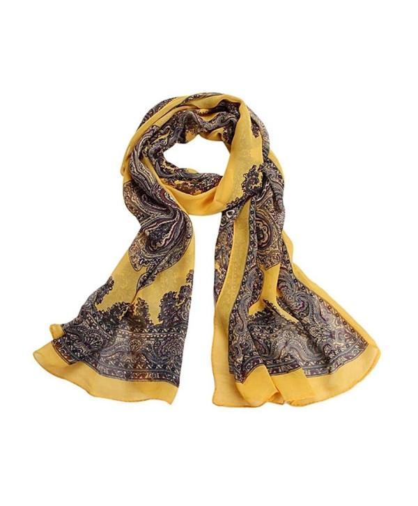 AutumnFall Women Fashion Lady Long Soft Chiffon Scarf Wrap Shawl Stole Scarves - Yellow - CZ1257RFW5F