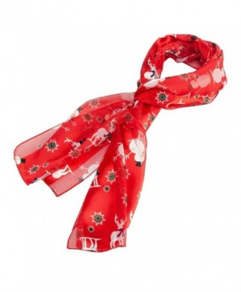 Christmas or Holiday Silk Feel Scarf - Red - CT186EKR70C