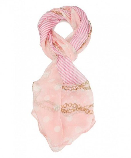 ELEGNA 100% Mulberry Silk Women's Soft Long Printed Scarf Shawl - Dot Pink - CU17AACM5RE