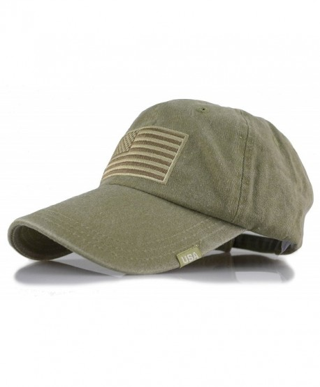 Baseball USA Flag Embroidered Washed Cotton Trucker Distressed Vintage  Adjustable Cap - Olive - CR182DL8MRU 37b1dc3196c