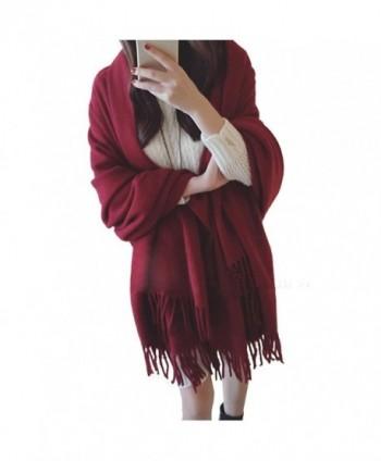 MorySong Soft Cashmere Feel Scarf Stole With Tassel Winter Warm Shawl Wrap for Women - Burgundy - CD186TDURQI