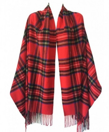 Women Oversized Scottish Clan Tartan Plaid Cashmere Feel Shawl Wrap Winter Scarf - Red Tartan - CD187IENQQ3