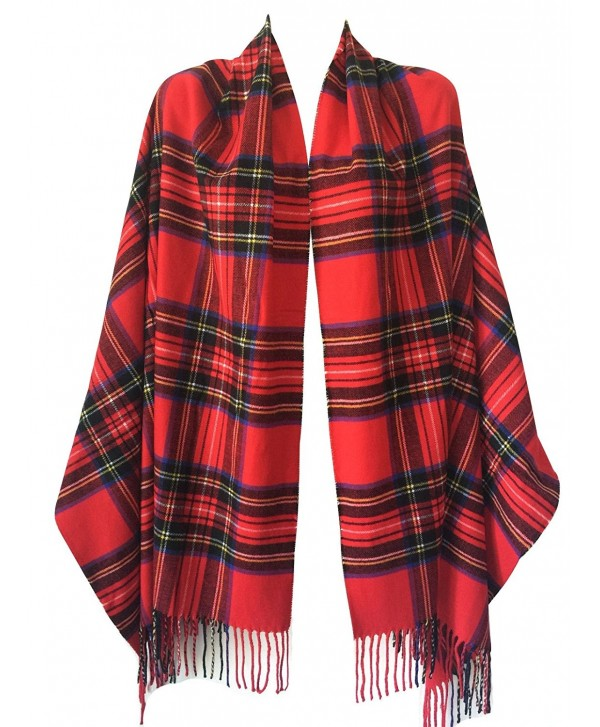Women Oversized Scottish Clan Tartan Plaid Cashmere Feel Shawl Wrap Winter Scarf - Red Tartan - CD187IENQQ3