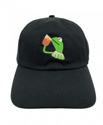Kermit The Frog Dad Hat Cap Sipping Sips Drinking Tea Champion Lebron Costume - Black - CU12NH4ID9R