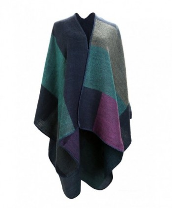 UTOVME Fashion Winter Cashmere Feel Cardigan Large Plaid Blanket Scarf Poncho - Blue Green Purple - CK12JW0R323
