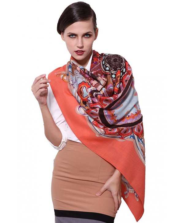 Grace Scarves 100% Ultrafine Wool Scarf- Large Square - Retro Style- Salmon - CQ11H4VMK99