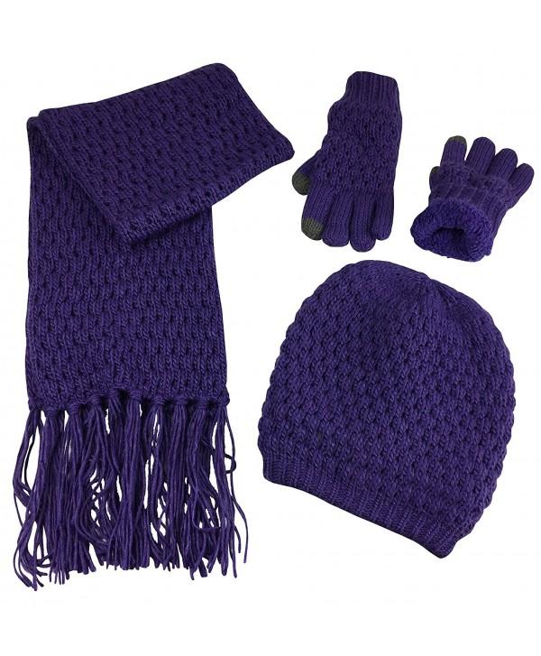 N'Ice Caps Women's Beanie Scarf Gloves 3PC Set Sherpa Lined Popcorn Stitch - Purple - CC187NHYK86