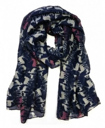 Styleinch Animal Print Women's Fashion Scarves (All Colors Available) - Deer/Navy - CI11S4ONE59