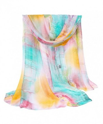 Kook Club Long Silk Scarf Multi Mixed Colors Neck Wrappings Beach Line Shawl - Lines Blue - C612H0NS5PN