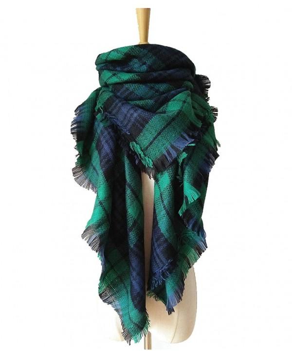 Womens Warm Tassels Plaid Scarf Fall Winter Soft Chunky Pashmina Tartan Blanket Wrap Shawl - Green Blue - C6186L5L6X7