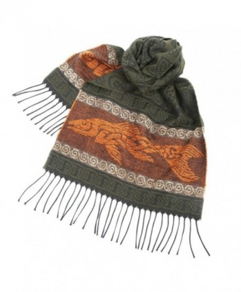 "Women's Fish Scarf - Green and Orange - Celtic Beasties Collection - 75"" Long - CK186Z6Q3M9"