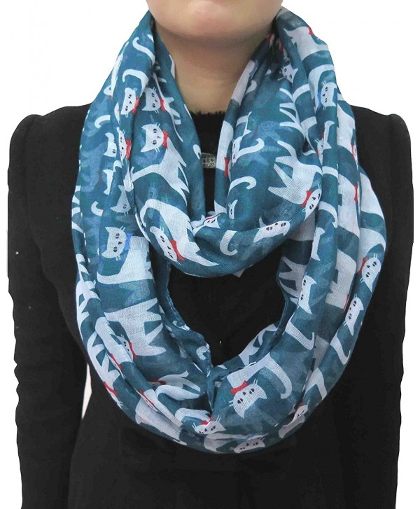 Lina & Lily Cute Cat Kitten Print Infinity Loop Scarf for Women - Cerulean+White - C011V9E7HJZ