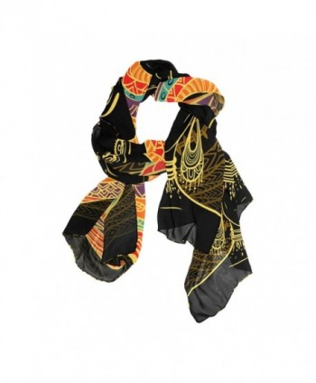 DEYYA Women's Silk Scarf Scarves African Art Women Beach Sunscreen Shawl Wraps - CP187EAAA2G