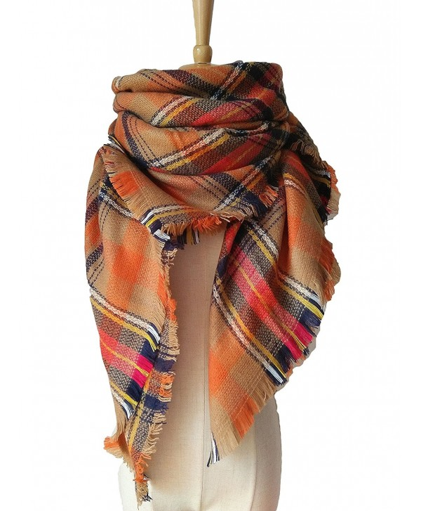 ZOMOY Women's Scarf Tartan Plaid Blanket Long Shawl Winter Warm Large Lattice - Orange - CV1863G27IY