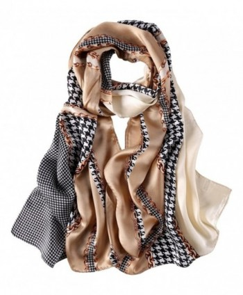 Long Fashion Silk Scarf Floral and Graphic Print - Brown Swallow Grid - CK184YTMKLQ